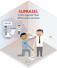 Suprasel is the supplier that offers extra services. Salt for food.