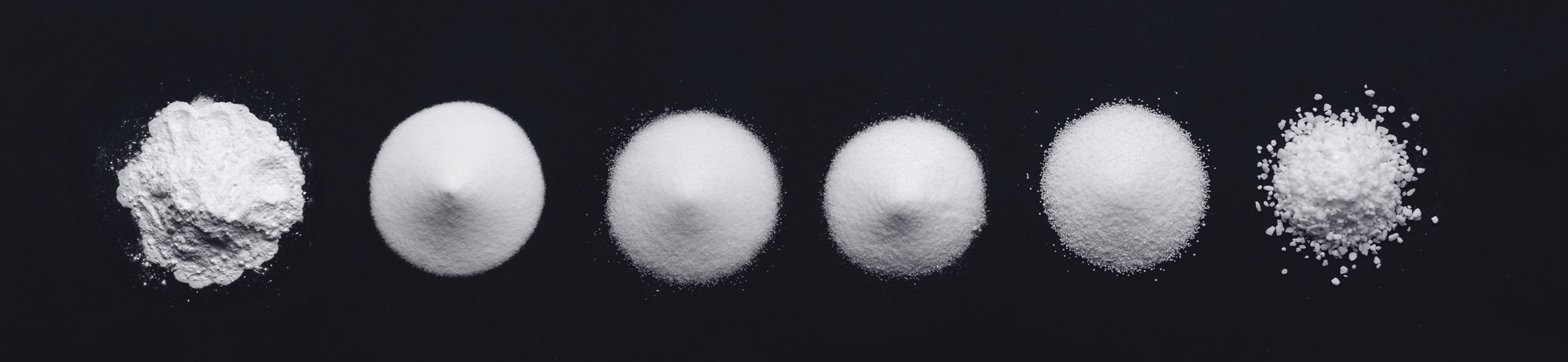 Grain sizes of Suprasel food salt: from microfine to coarse.